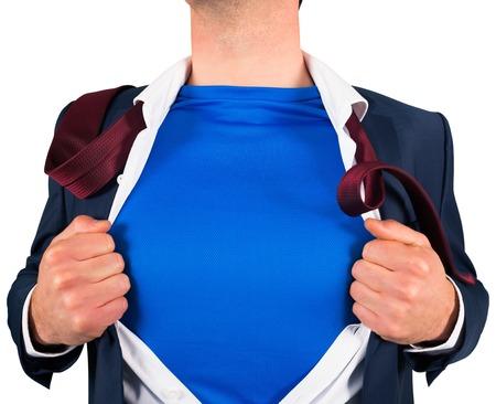 Businessman opening his shirt superhero style on white background Stock Photo