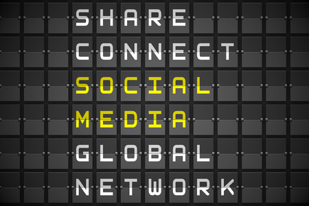 buzzwords: Social media buzzwords on digitally generated black mechanical board Stock Photo