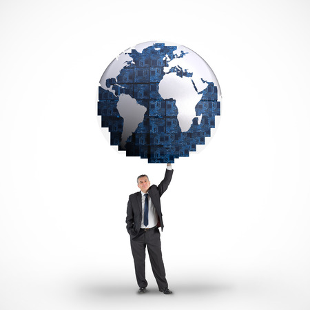 businessman carrying a globe: Composite image of businessman holding blue earth against white background with vignette