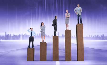 composite image: Composite image of business people standing on  bar chart depicting growth