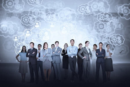 technology people: Digital composite of business team against cogs and wheels background