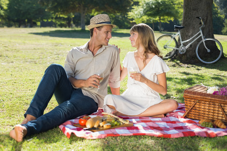 Cute couple drinking white wine on a picnic on a sunny day photo