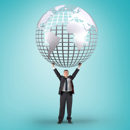 businessman carrying a globe: Composite image of businessman holding earth against blue vignette
