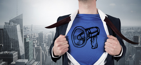 Composite image of businessman opening his shirt superhero style against cityscape photo