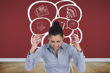 woman looking down: Furious businesswoman gesturing against room with wooden floor Stock Photo