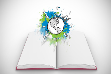Earth and arrows on paint splashes on open book against white background with vignette photo