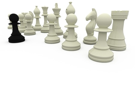 opposition: Black pawn facing white opposition on white background