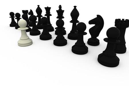 opposing: White pawn facing black pieces on white background Stock Photo