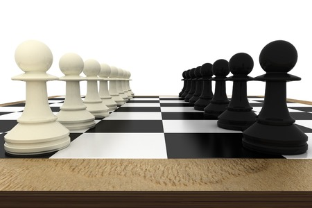 facing: White and pawns facing off on board on white background