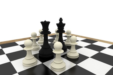 Black king and queen surrounded by white pawns on white background Stock Photo