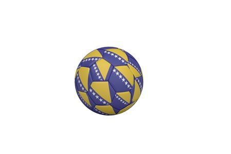 bosnian: Football in bosnian colours on white background Stock Photo