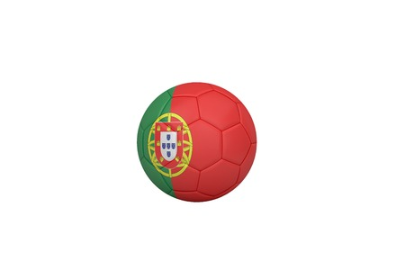 Football in portugal colours on white background photo