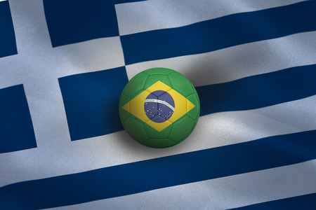 Football in brasil colours against greece flag background photo