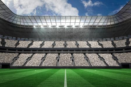 football stadium: Digitally generated large football stadium with white fans