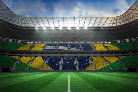 Digitally generated large farge football stadium with brasilian fans