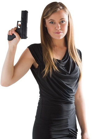 femme fatale: Femme fatale pointing gun up on white background