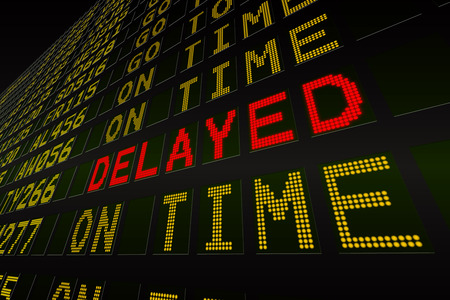 the delayed: Digitally generated black airport departures board