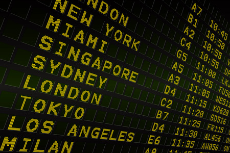 Digitally generated black airport departures board with yellow text Imagens