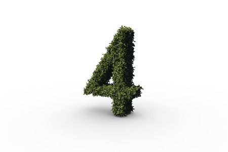 numeracy: Four made of leaves on white background