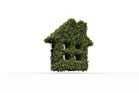 homeowner: House shape made of leaves on white background