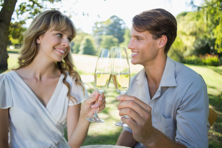 Cute couple sitting outside toasting with champagne on a sunny day photo