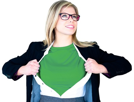 Businesswoman opening shirt in superhero style on white background