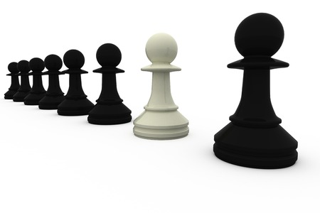 traitor: White chess pawn standing with black pieces on white background