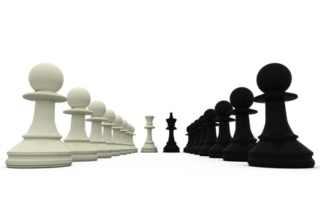 face off: Black and white king standing with pawns on white background