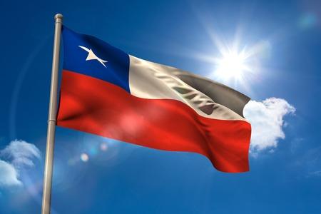 flagpole: Chile national flag on flagpole on blue sky background