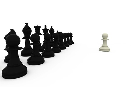 face off: White pawn facing black pieces on white background Stock Photo