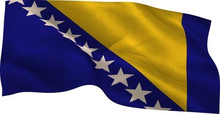 bosnian: Digitally generated Bosnian national flag waving on white background Stock Photo