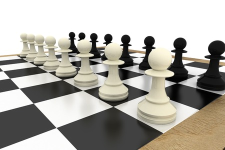 face off: White and pawns facing off on board on white background