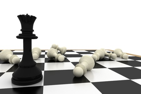 fallen: Black queen standing with fallen white pawns on white background Stock Photo