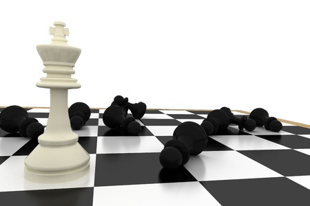 White king standing with fallen black pawns on white background