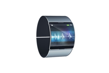Futuristic black wrist watch with display on white background photo