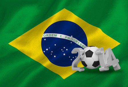 Digitally generated world cup 2014 with brasil flag photo