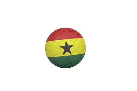 Football in ghana colours on white background photo