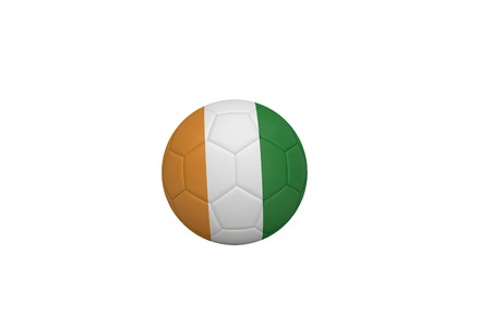Football in ivory Coast colours on white background photo
