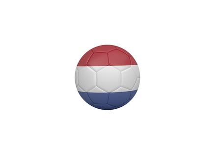 Football in holland colours on white bvackground photo