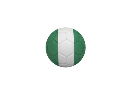 Football in nigeria colours on white background photo