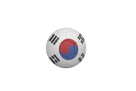 Football in south korea colours on white background photo