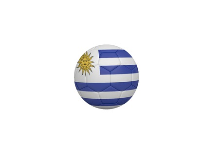 Football in uruguay colours on white background photo