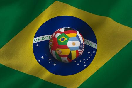 multi national: Football in multi national colours against brasil flag