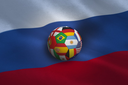 multi national: Football in multi national colours against russia flag Stock Photo