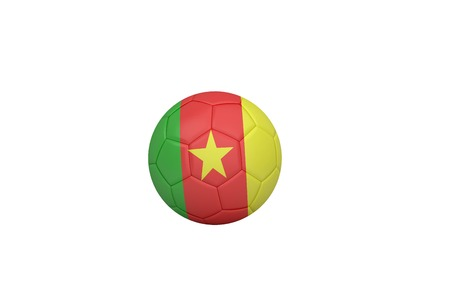 Football in cameroon colours on white background photo