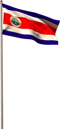flagpole: Costa rica national flag on flagpole on white background