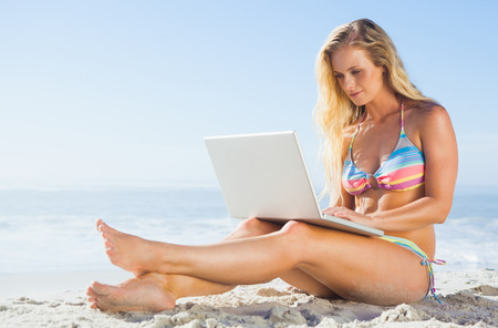 Gorgeous blonde in bikini using laptop on the beach on a sunny day photo