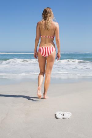 Fit woman in bikini walking towards the sea on a sunny day photo