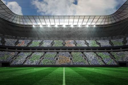 Digitally generated large football stadium under spotlights