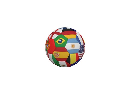 Football in multi national colours on white background photo